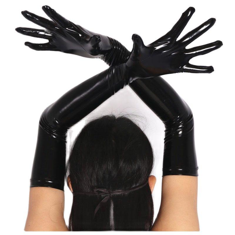 S-XL Plus Size Wetlook PVC Shiny Long Gloves Women Latex PU Leather Handschuhe Guantes Mujer Eldiven Glove Pole Dance Clubwear