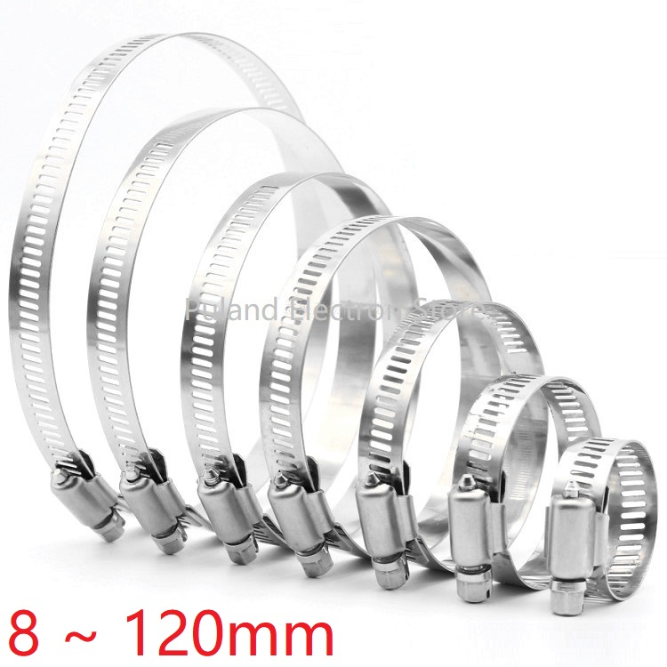 <font><b>8mm</b></font> ~ 120mm Stainless Steel Drive <font><b>Hose</b></font> <font><b>Clamp</b></font> Adjustable Tri Gear Worm Fuel Tube Line Water Pipe Fastener Fixed Clip Spring Hoops image