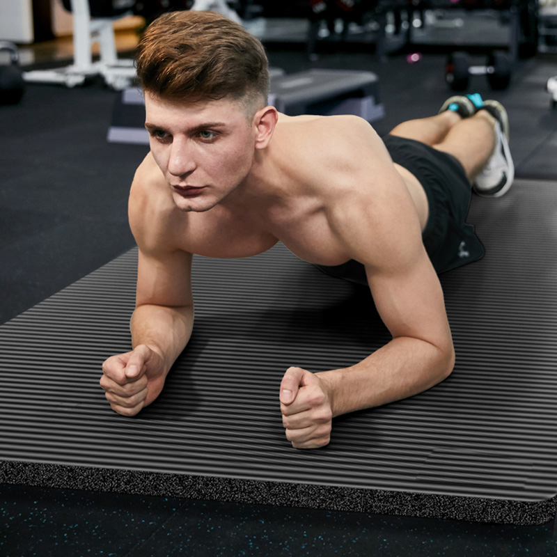 Esteras de gimnasio para hombre de 185X80X1,5 cm de gran tamaño NBR esteras de Yoga antideslizantes para Fitness almohadilla deportiva de 15MM con vendas de gran tamaño
