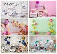 Laeacco Baby Birthday Balloons Curtain Shelf Toys Party Decor Photography Backgrounds Photographic Backdrops For Photo Studio