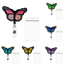Badge-Holder Reel-Clip Nurse-Badge Retractable Butterfly Students Doctor Embroidery 1set