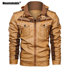 Mountainskin Men's Leather Jackets Winter Fleece Thick Mens Hooded Motorcycle PU Coats Male Fashion Outwear Brand Clothing SA794