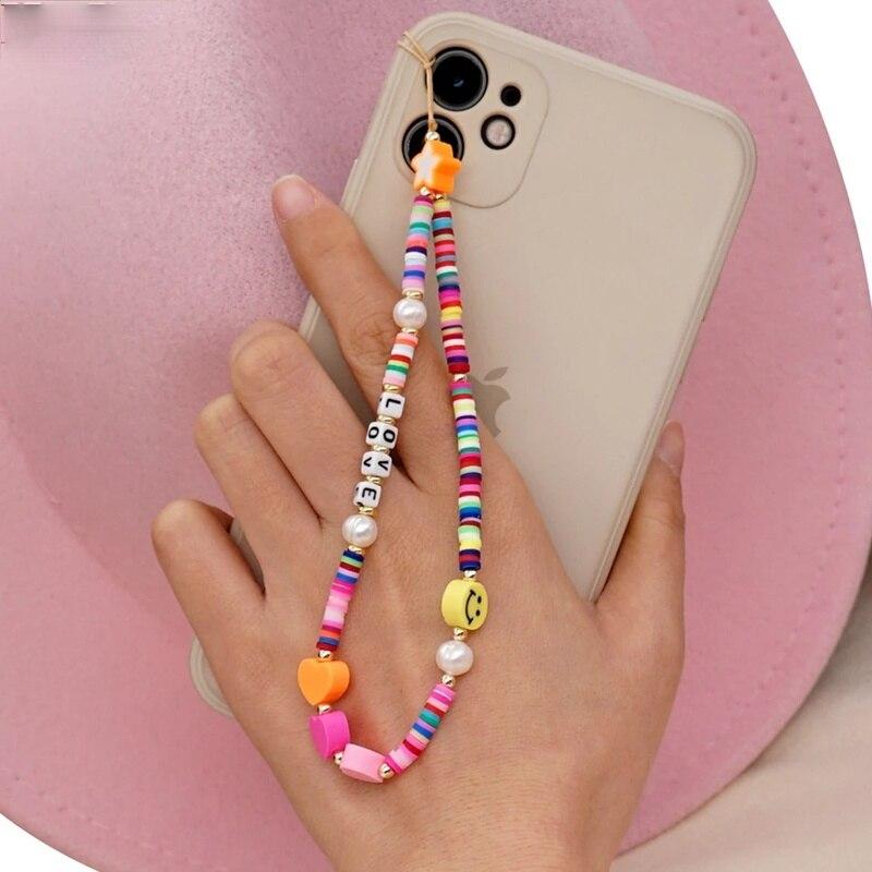 2021 новый мобильный телефон ремешок цветных улыбок и жемчугом Мягкая Керамика веревка для сотового телефона чехол для телефона подвесной шнур для Для женщин        АлиЭкспресс