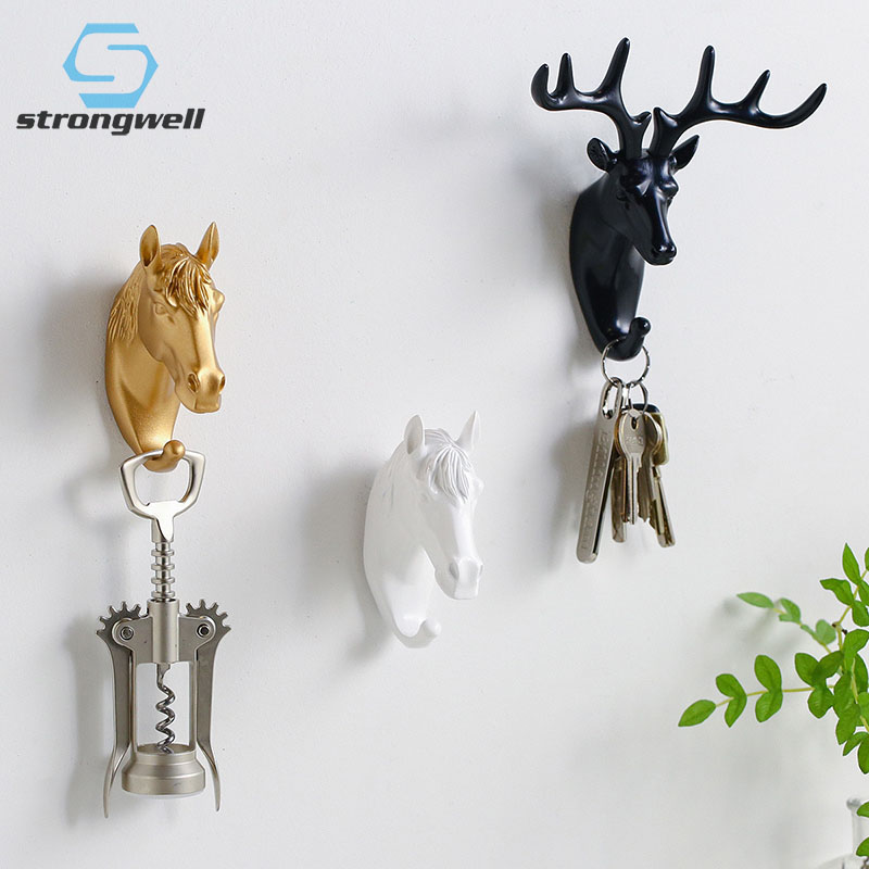 Strongwell Nordic Animal Hooks Hanging Hook Holder Strong Seamless Sticking Hook Hanger Keys Wall Decor Home Decoration