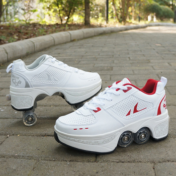 Deformation Parkour Shoes Four wheels Rounds of Running Shoes Roller Skates shoes adults kids unisex 3