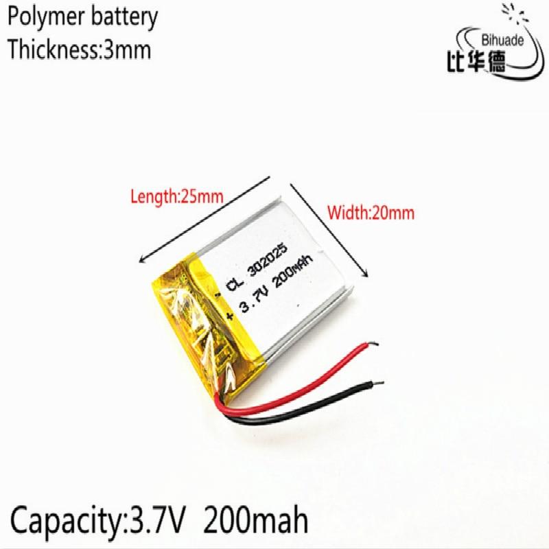 1pcs/lot Good Qulity 3.7V,200mAH,302025 Polymer Lithium Ion / Li-ion Battery For TOY,POWER BANK,GPS,mp3,mp4
