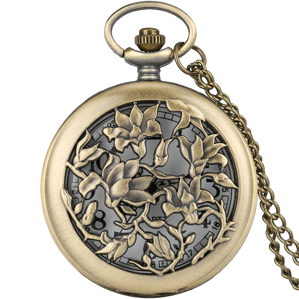 Bronze Hollow-out Flowers Cover Pocket Watch Retro Pendant Chain Necklace Chain Arabic Numerals Dial Gifts For Men Women
