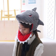 Hat Costume Hood Shark Plush Funny Animal-Cap Party Cosplay Halloween Japanese Adult