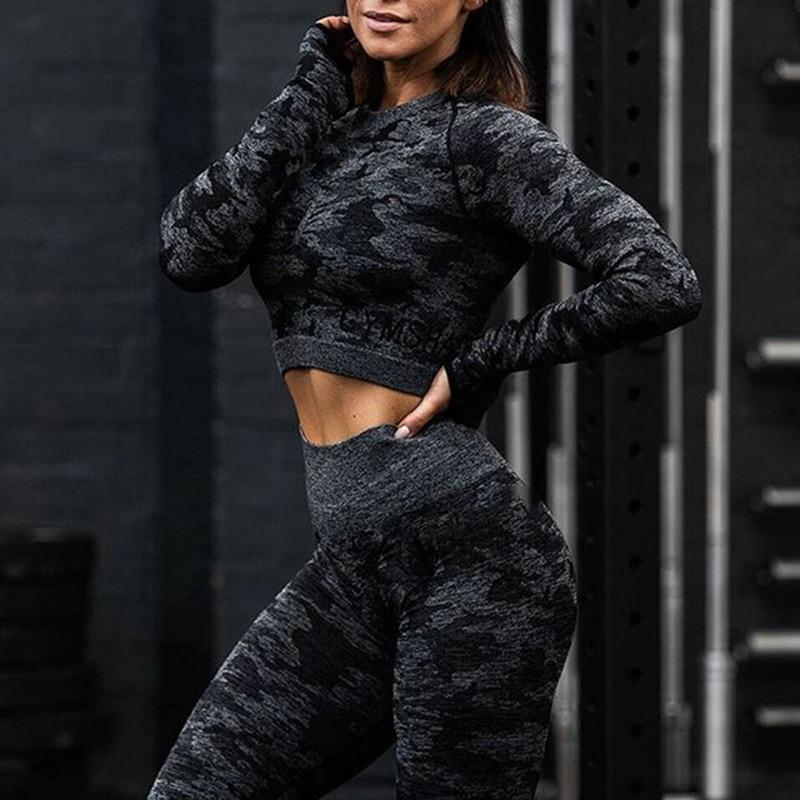 Damen Nahtlos Camouflage Sport Set Yoga Suit Lange Ärmel Top Gym Leggings Hose P