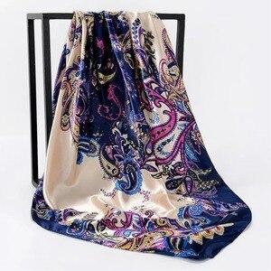 Image 5 - Zijden Sjaal Vrouwen Afdrukken Haar Nek Vierkante Sjaals Kantoor Dames Sjaal Bandana 90*90Cm Moslim Hijab Zakdoek Uitlaat foulard