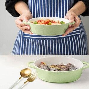 Овальная посуда для выпечки, керамическая миска, сковорода для выпечки, бытовая Западная пищевая тарелка, микроволновая печь, бинауральная ...