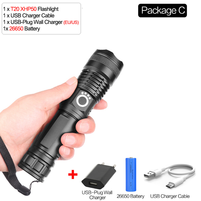 50000 Lumens USB Rechargeable LED Flashlight Zoomable Torch Lamp With Clip SV