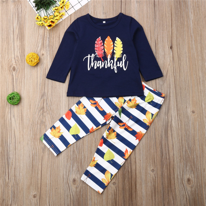 2019 Thanksgiving Days Children Outfits Turkey Hair Print T-Shirt For Boys Clothes Set Leaves Long Pants Kid Girls Sets Clothing