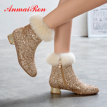 ANMAIRON Sequined Cloth Women Shoes Solid Bling Plush Winter Boots Ankle Round Toe Square Heel Party Fashion