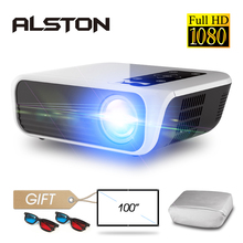 Alston projetor de cinema t8, full hd 1080p 4k 5000 lúmens, hdmi, usb av, com um presente