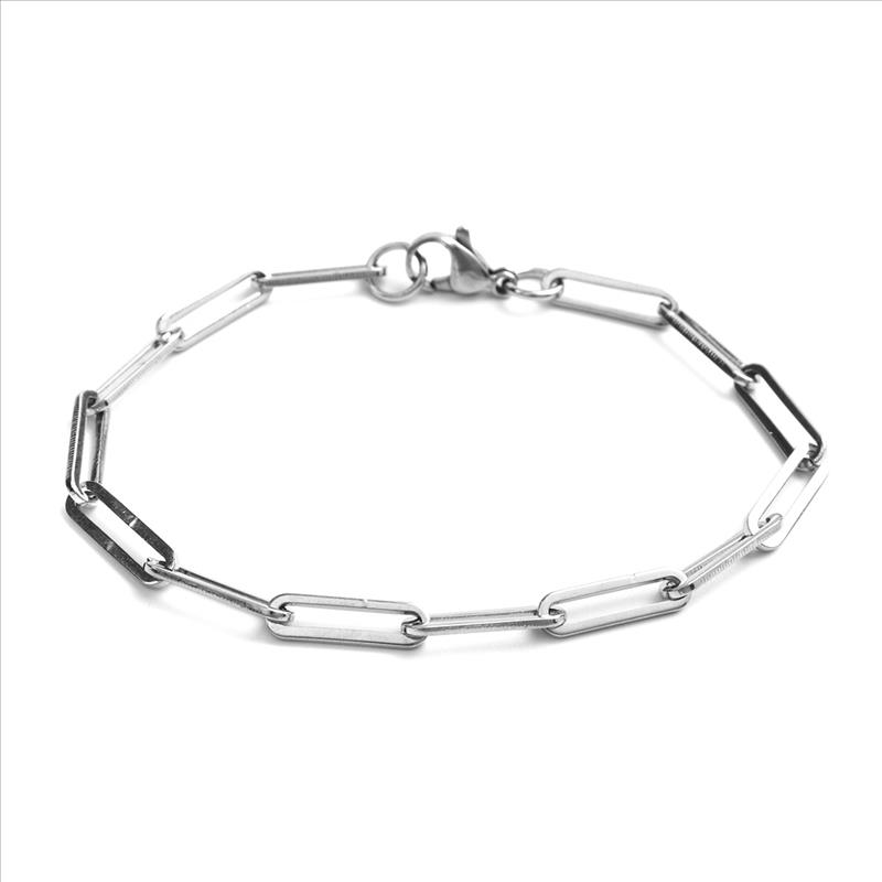 New 304 Stainless Steel 4mm Link Cable Chain Bracelets Gold Silver Color Oval Bracelet Jewelry For Women Men Gift 19cm long, 1PC