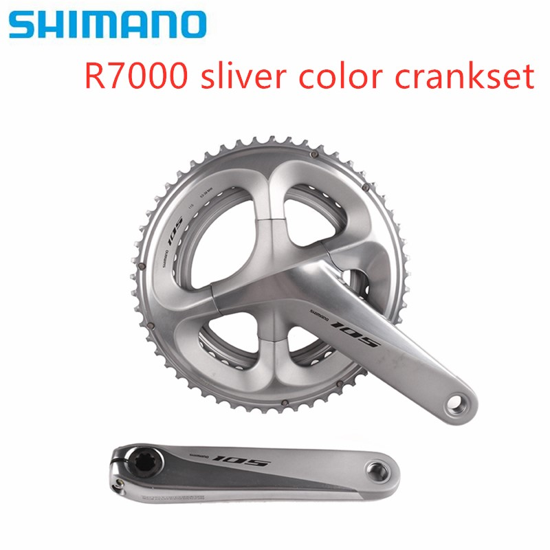 <font><b>Shimano</b></font> <font><b>105</b></font> new model sliver color R7000 2x11 speed 170/172.5mm 53-39T 50-34T Road Bike Bicycle Crankset without BB Update 5800 image