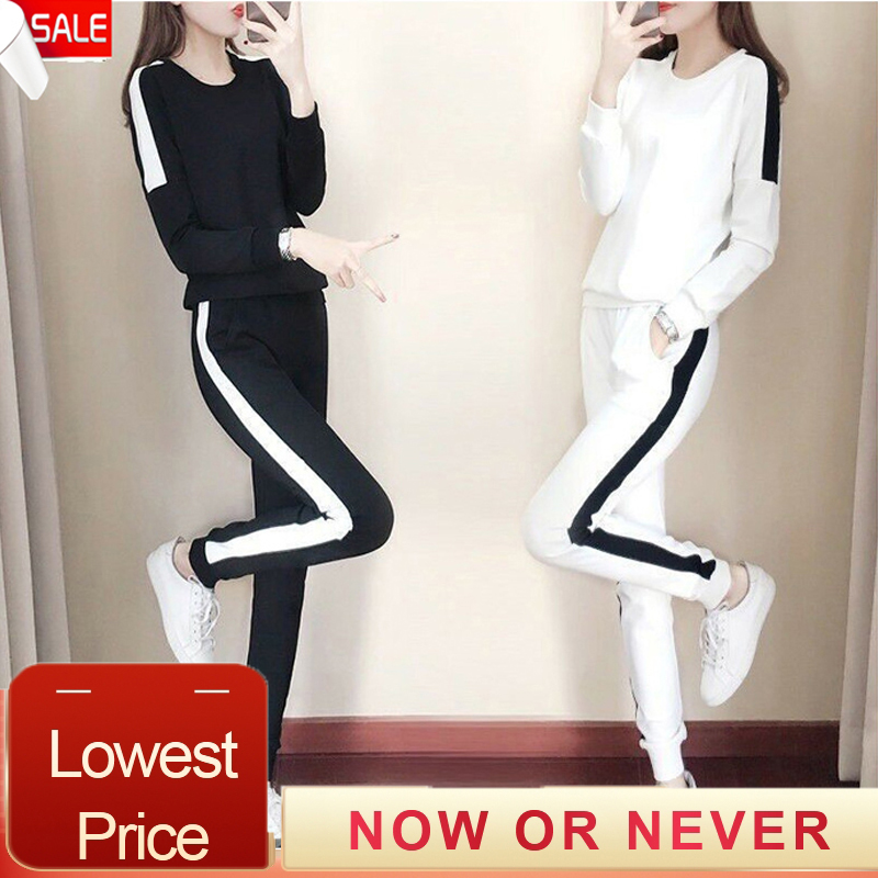 Plus Size 4xl Sweat Suits Women 2019 Two Piece Set Top And Pants Women Clothing Fashion Striped Jogging Suits For Women Ensemble