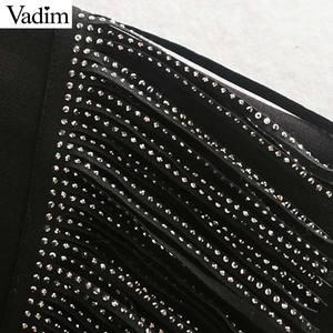 Image 3 - Vadim femmes mode glands conception noir sweat à manches longues O cou pulls femme basique confortable solide hauts HA588