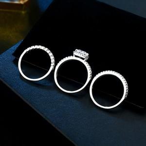 Image 4 - Newshe 1.7 ct radiante corte cz 3 pçs genuíno 925 prata esterlina conjuntos de anel de casamento banda de noivado para mulher