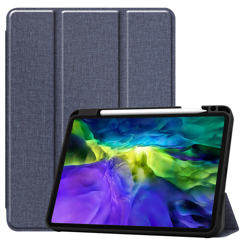 Blue Red Funda For iPad Pro 11 2020 Case With Pencil Holder Smart Cloth Textured Stand TPU Soft