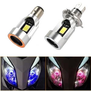 Ba20d H4 светодиодный светильник для головы мотоцикла, лампы ангельские глазки COB H4 HS1 светодиодный ATV мотоциклетный Головной фонарь, аксессуар...