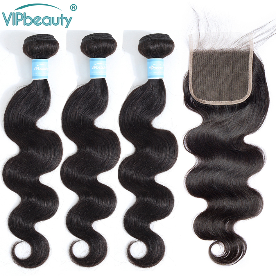 Vipbeauty Body Wave 3 Bundles With Closure Remy Brazilian Hair Extension 1B Human Hair With Closure 4*4 Free Shipping