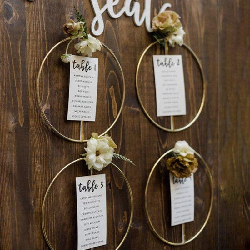 Decoração do casamento 10-40cm argolas de metal porta de casa pendurado ouro ferro anel de metal grinalda parede pendurado ornamento chuveiro nupcial adereços