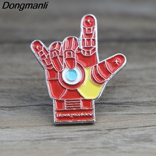 K256 I Love you 3000 Iron Mans Hand Metal Enamel Pins and Brooches for Women Men Lapel Pin Backpack Badge Denim Brooch Collar