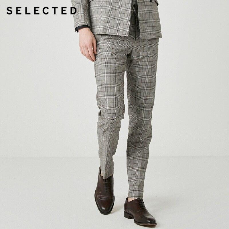 SELECTED Cotton-blend Grey Slim Fit Suit Pants S|419218514