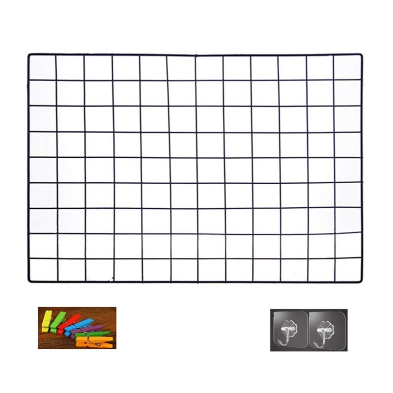 DIY Grid Photo Wall,Multifunction Wall Mounted Ins Mesh Display Panel,Wall Art Display Organizer,Memo Board, With Hook, Color Wo