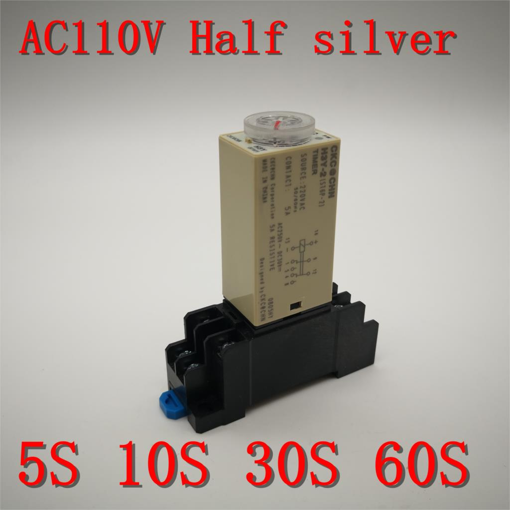 1pcs H3Y-2 Time Relay Delay Timer <font><b>0</b></font> -5 <font><b>10</b></font> <font><b>30</b></font> 60 Seconds with Base 5A AC 110V 1S 5S 10S 30S 60S Two open two closed Half silver image