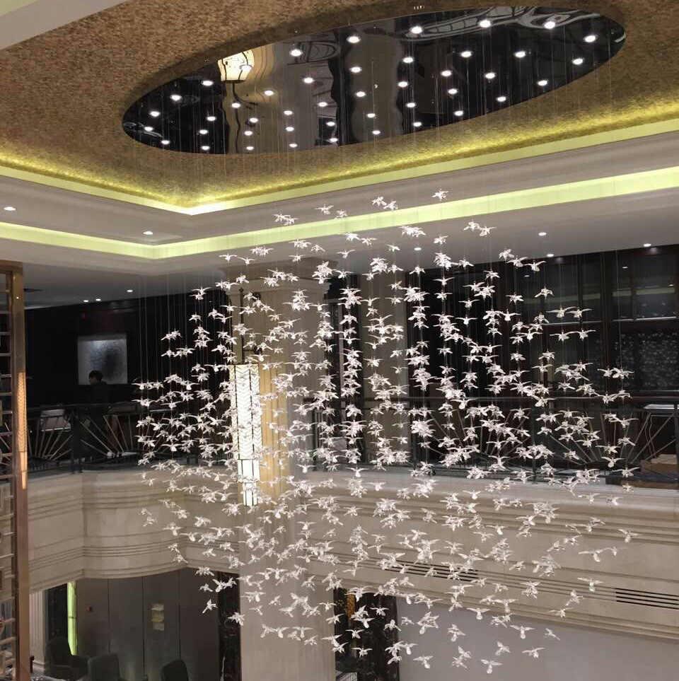 glass bird chandelier art sales department sand table mall atrium bird engineering lighting hotel lobby lights custom