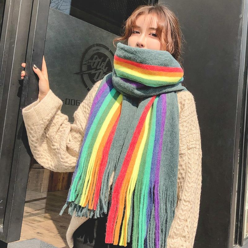 Winter Knitting Wool Rainbow Stripes Scarf Long Scarves For Women Soft Shawl Tassel Blanket Cashmere Thicken Warm Scarf