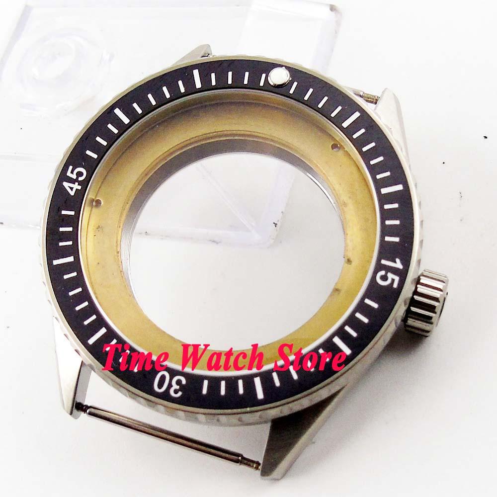 43mm watch case 5ATM wateproof Fit ETA 2836 Miyota 8215 DG 2813 movement black ceramic bezel sapphire glass C83