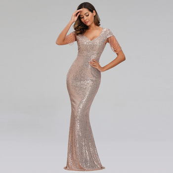 New Women Sequins Long Evening Dress Elegant V-neck Beading Evening Party Dress