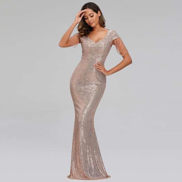 YIDINGZS 2020 New Women Sequins Long Evening Dress Elegant V-neck Beading Evening Party Dress YD9663 1