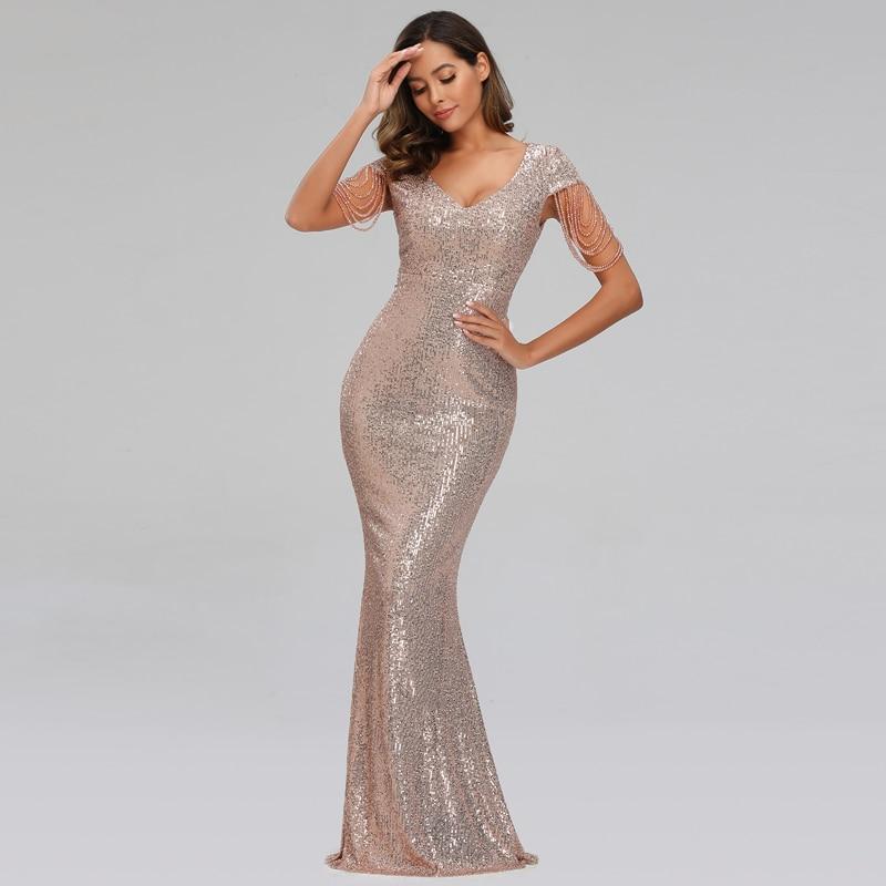 YIDINGZS 2020 New Women Sequins Long Evening Dress Elegant V-neck Beading Evening Party Dress YD9663