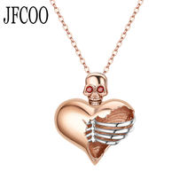 Punk Women Skull Pendant Crystal Heart Black Silver Necklaces Jewelry Wedding Gift Dropshipping(China)