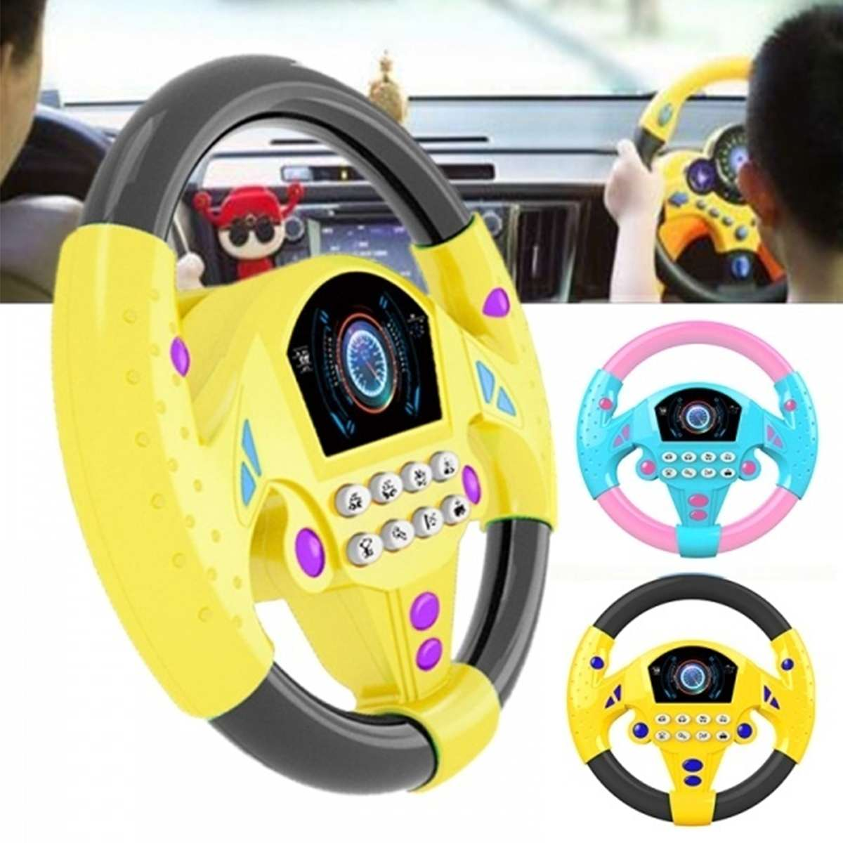 Educational Toy Children's Gift Copilots Steering Wheel Kid Driver Baby Steering Wheel Toddler Musical Toys With Lights Sounds