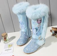 Elsa princess kids high boots new winter girls boots Brand Children's over the knee boots for girls snow shoes pink blue