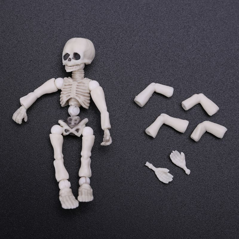 Movable Mr. Bones <font><b>Skeleton</b></font> Human Model <font><b>Pose</b></font> Skull Full Body Mini Figure Toy Halloween Desk Ornament Y1QF image