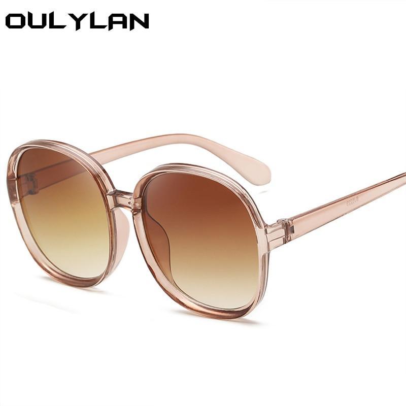 Oulylan Oversized Sunglasses Women Fashion Luxury Brand Design Round Sun Glasses Female Vintage Eyeglasses Shades Mirror UV400