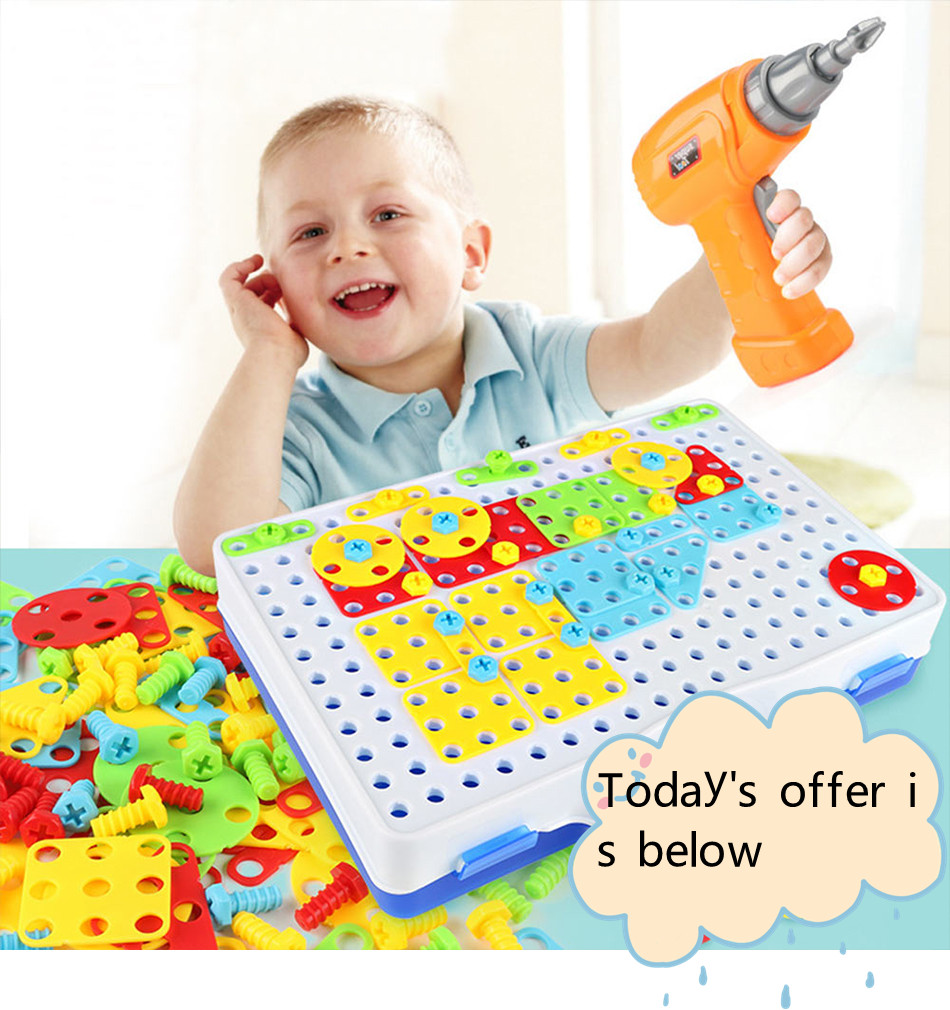 149/193 Pcs Kids Drill Toys Kids Learning Educational Game Gifts Screw Puzzle Assembled Toys Baby Screwdriver Mosaic Toy
