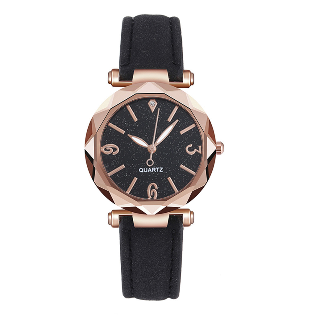 Casual Fashion Ladies Watch Women Quartz Watches Rold Gold Starry Dial Leather Band Wristwatch часы женские Reloj Mujer Gifts /d