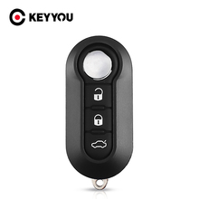 KEYYOU флип 3 кнопки дистанционного ключа автомобиля оболочки пустой чехол для Fiat 500 панда пунто Браво для Citroen для Peugeot авто Uncut Blade