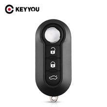 KEYYOU – clé télécommande à 3 boutons pour voiture, pour Fiat 500, Panda, Punto Bravo, citroën, Peugeot, lame non coupée