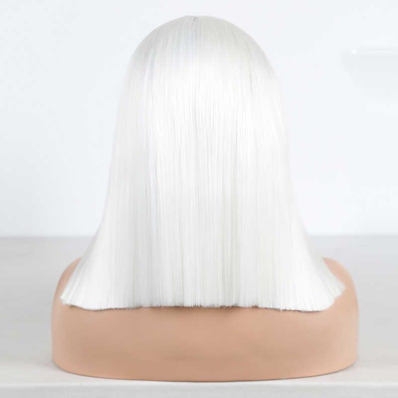 Peluca frontal de encaje sintético para mujer pelucas cortas de pelo liso de alta temperatura