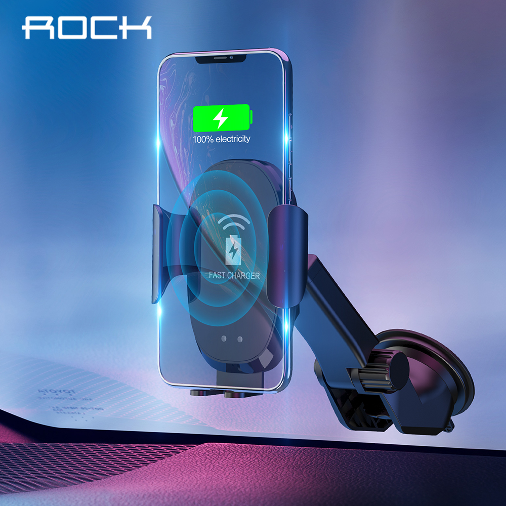 ROCK 10W QI Wireless Infrared Sensor Automatic Car Charger For Samsung Galaxy S8 S9 Gravity Holder Quick Charge Charging Stand