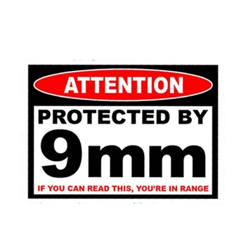 Protected 9 Mm Warning Pistol Gun Case Safe Ammo Box Car Sticker Accessories Waterproof Window PVC 13cm X 10cm image
